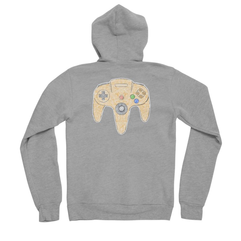 Gamepad SixtyFour - Yellow Women's Sponge Fleece Zip-Up Hoody by Krist Norsworthy Art & Design