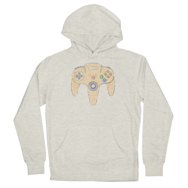 Gamepad SixtyFour - Yellow Women's French Terry Pullover Hoody by Krist Norsworthy Art & Design