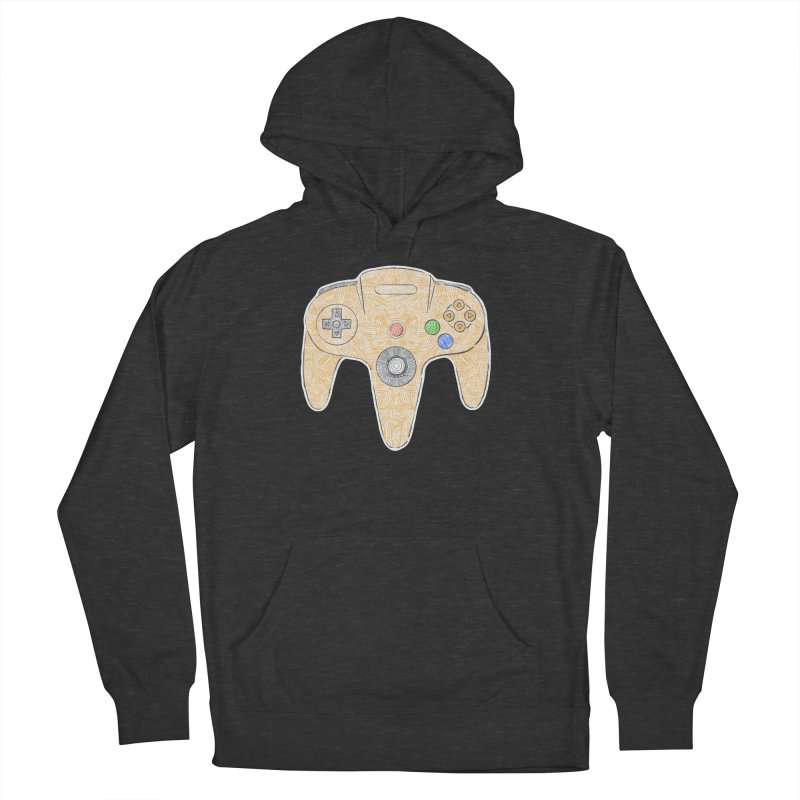Gamepad SixtyFour - Yellow Men's French Terry Pullover Hoody by Krist Norsworthy Art & Design