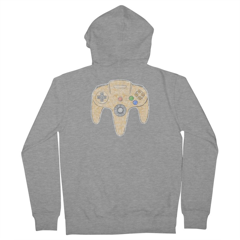 Gamepad SixtyFour - Yellow Men's French Terry Zip-Up Hoody by Krist Norsworthy Art & Design