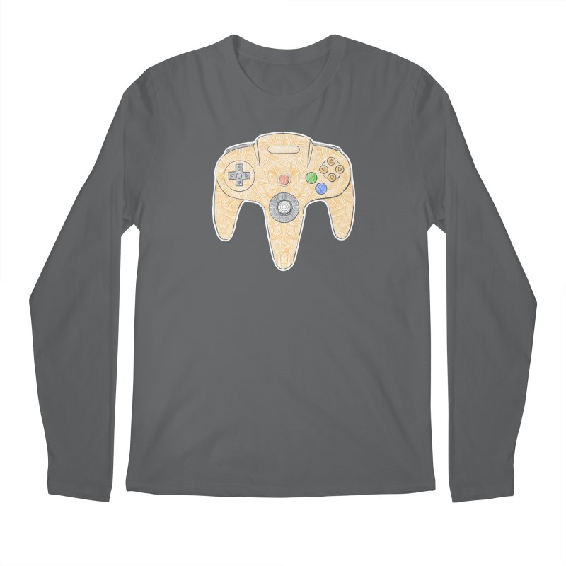 Gamepad SixtyFour - Yellow Men's Regular Longsleeve T-Shirt by Krist Norsworthy Art & Design