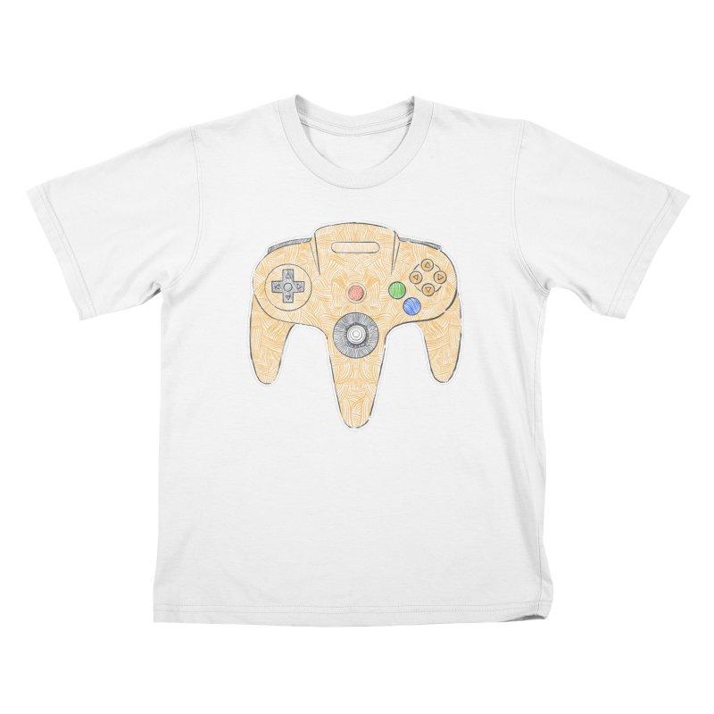 Gamepad SixtyFour - Yellow Kids T-Shirt by Krist Norsworthy Art & Design