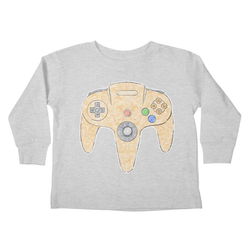 Gamepad SixtyFour - Yellow Kids Toddler Longsleeve T-Shirt by Krist Norsworthy Art & Design