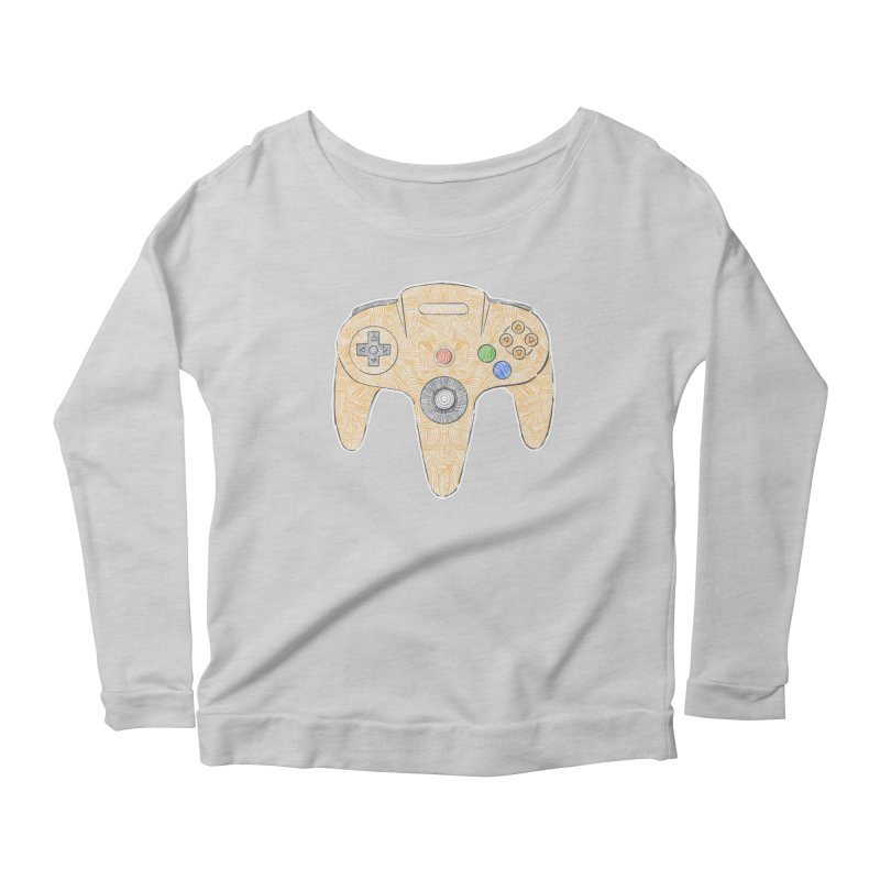 Gamepad SixtyFour - Yellow Women's Scoop Neck Longsleeve T-Shirt by Krist Norsworthy Art & Design