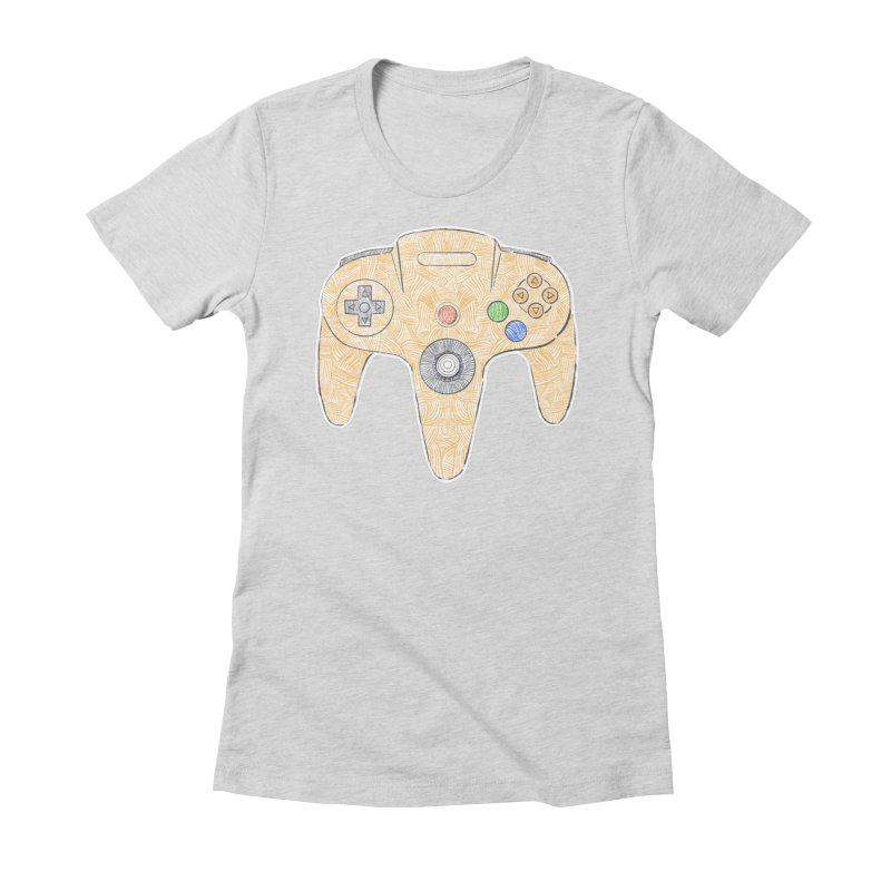 Gamepad SixtyFour - Yellow Women's Fitted T-Shirt by Krist Norsworthy Art & Design