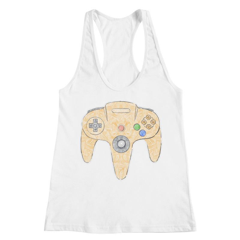 Gamepad SixtyFour - Yellow Women's Racerback Tank by Krist Norsworthy Art & Design