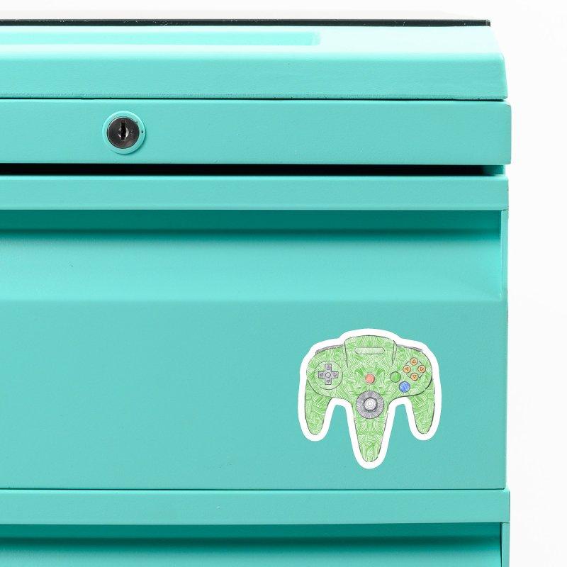 Gamepad SixtyFour - Green Accessories Magnet by Krist Norsworthy Art & Design