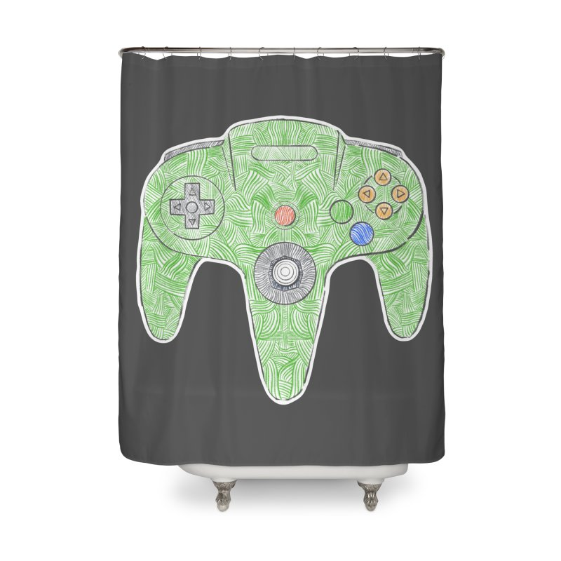 Gamepad SixtyFour - Green Home Shower Curtain by Krist Norsworthy Art & Design