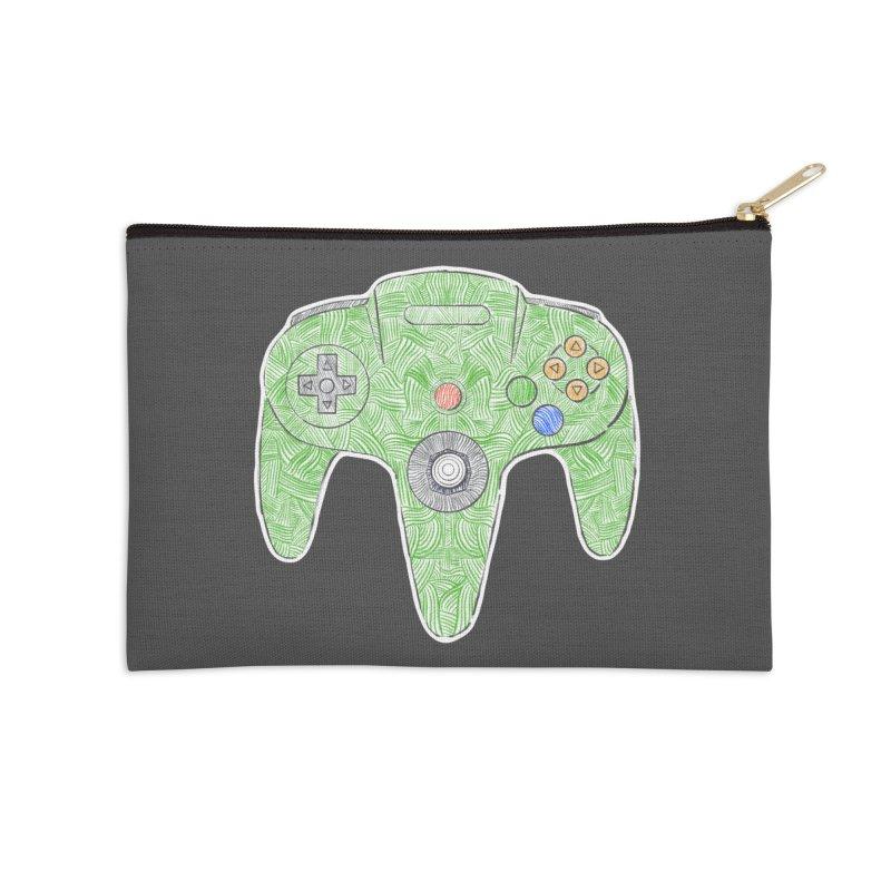 Gamepad SixtyFour - Green Accessories Zip Pouch by Krist Norsworthy Art & Design