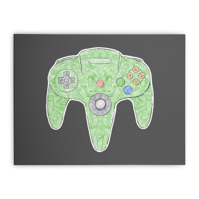 Gamepad SixtyFour - Green Home Stretched Canvas by Krist Norsworthy Art & Design