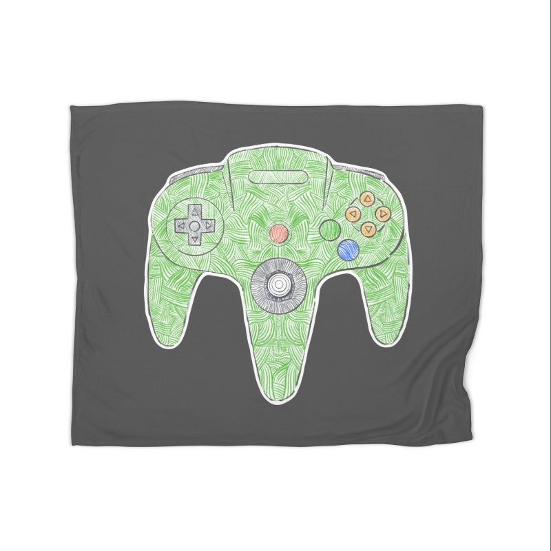 Gamepad SixtyFour - Green Home Fleece Blanket Blanket by Krist Norsworthy Art & Design