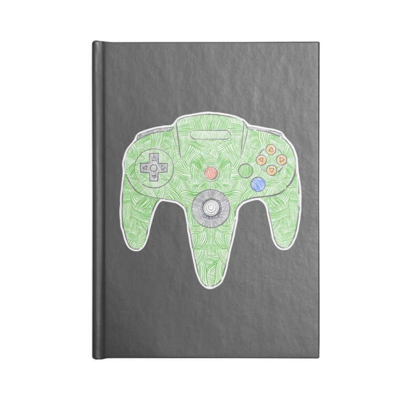 Gamepad SixtyFour - Green Accessories Blank Journal Notebook by Krist Norsworthy Art & Design