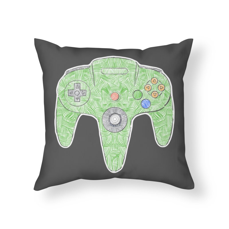Gamepad SixtyFour - Green Home Throw Pillow by Krist Norsworthy Art & Design