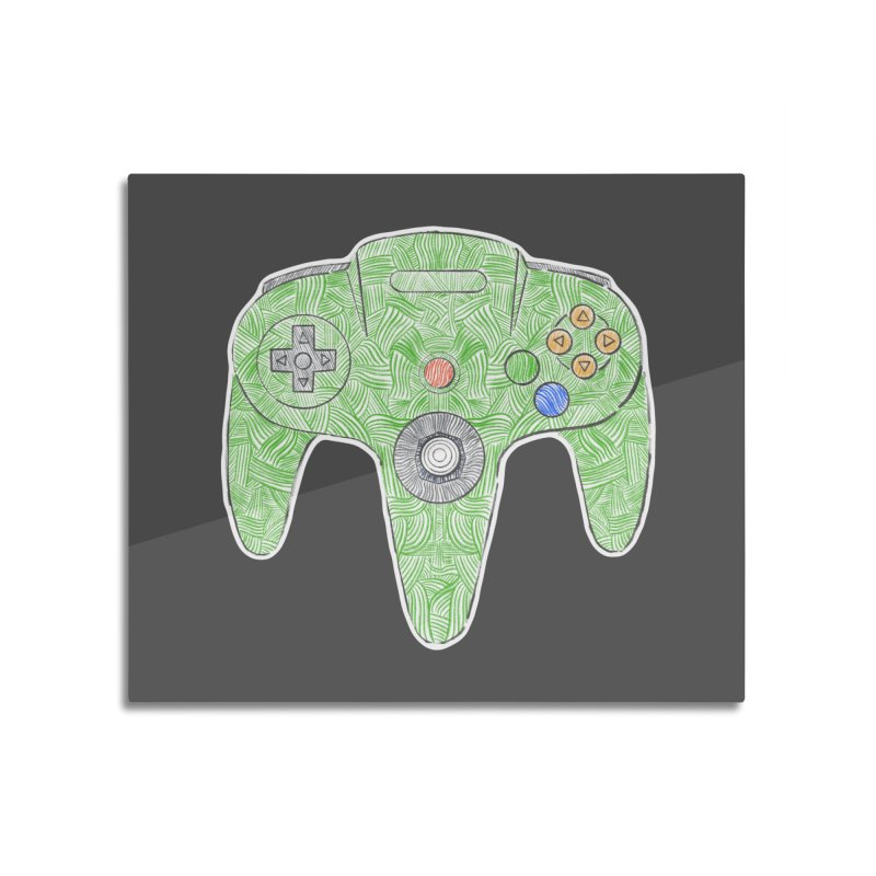 Gamepad SixtyFour - Green Home Mounted Aluminum Print by Krist Norsworthy Art & Design