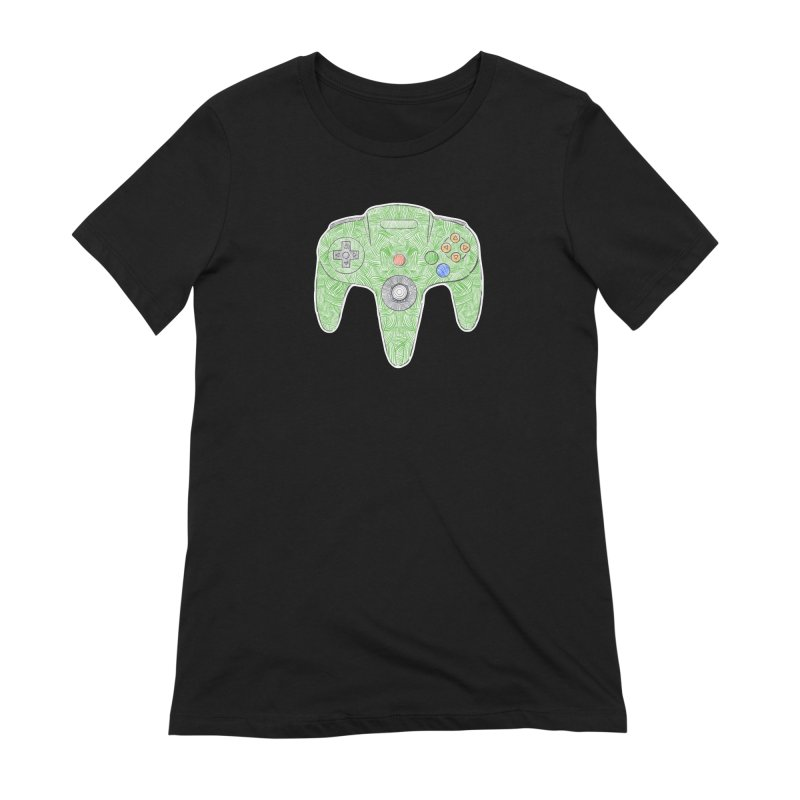 Gamepad SixtyFour - Green Women's Extra Soft T-Shirt by Krist Norsworthy Art & Design
