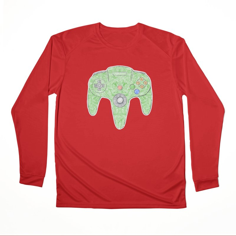 Gamepad SixtyFour - Green Women's Performance Unisex Longsleeve T-Shirt by Krist Norsworthy Art & Design