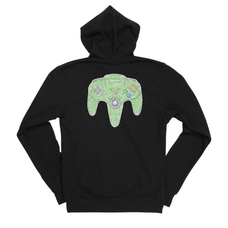 Gamepad SixtyFour - Green Men's Sponge Fleece Zip-Up Hoody by Krist Norsworthy Art & Design