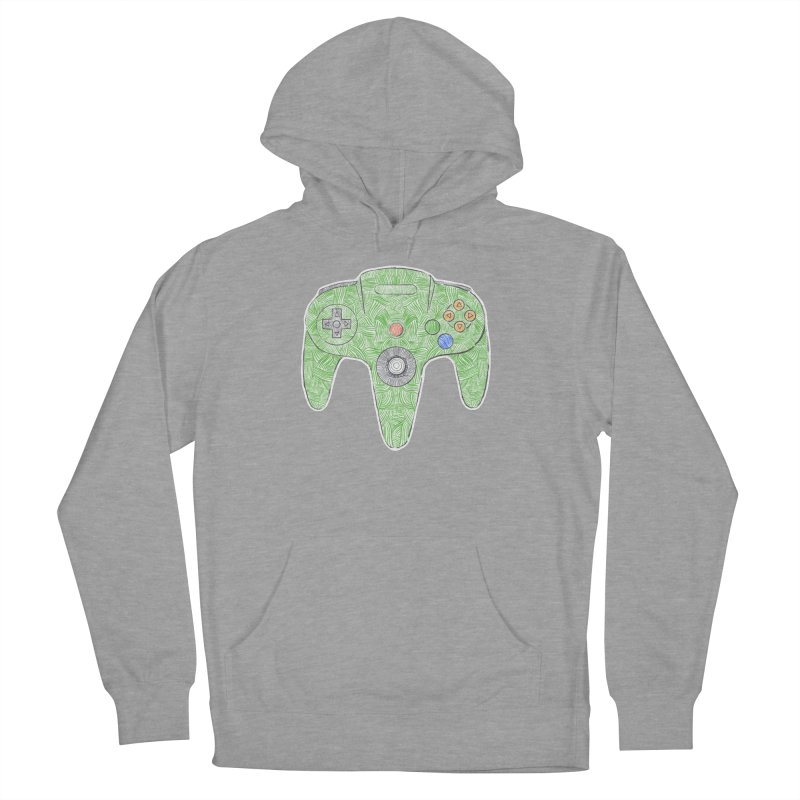 Gamepad SixtyFour - Green Men's French Terry Pullover Hoody by Krist Norsworthy Art & Design