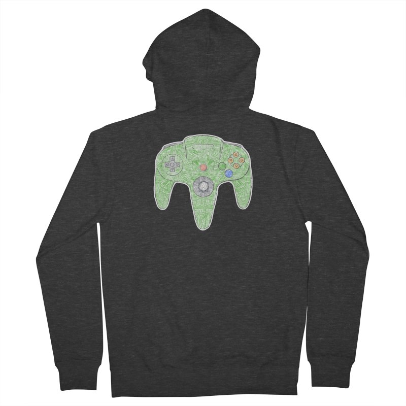 Gamepad SixtyFour - Green Women's French Terry Zip-Up Hoody by Krist Norsworthy Art & Design