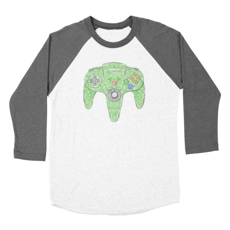 Gamepad SixtyFour - Green Men's Baseball Triblend Longsleeve T-Shirt by Krist Norsworthy Art & Design