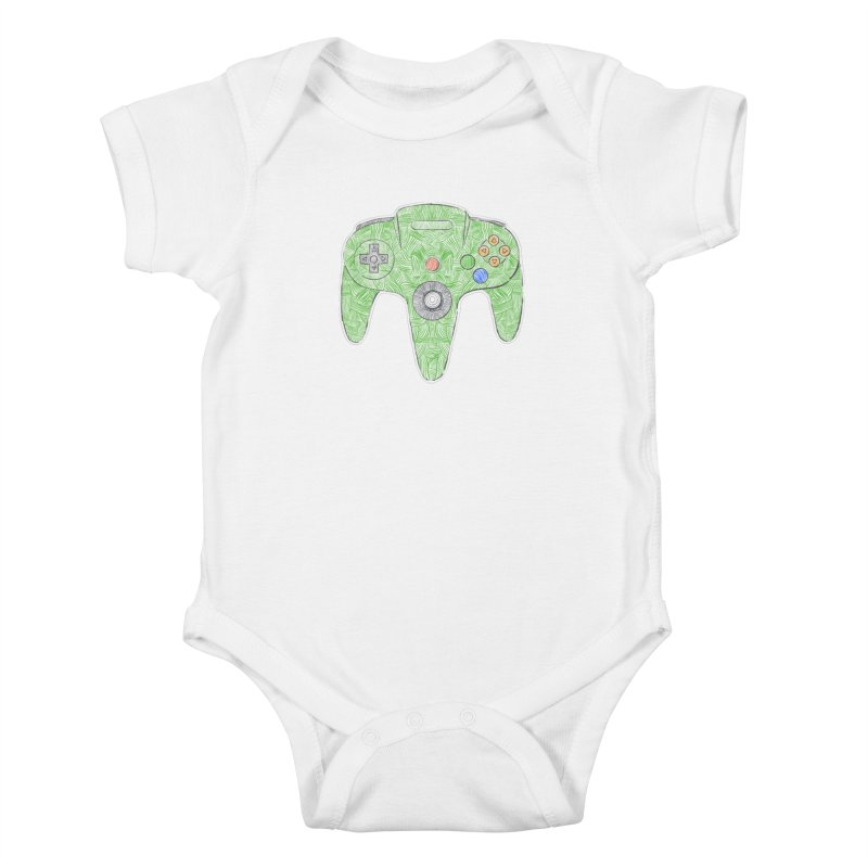 Gamepad SixtyFour - Green Kids Baby Bodysuit by Krist Norsworthy Art & Design