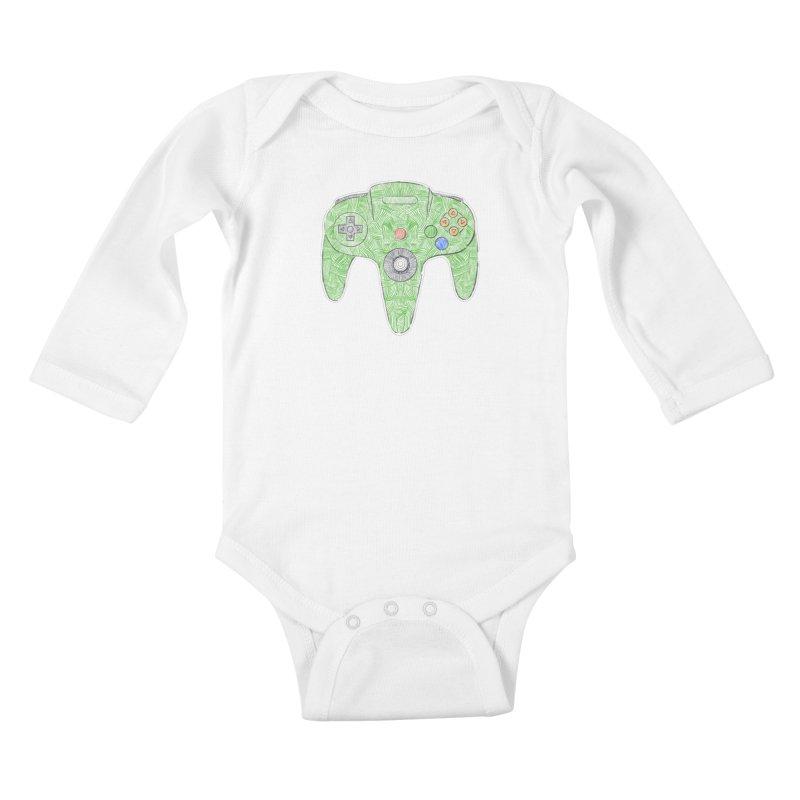 Gamepad SixtyFour - Green Kids Baby Longsleeve Bodysuit by Krist Norsworthy Art & Design