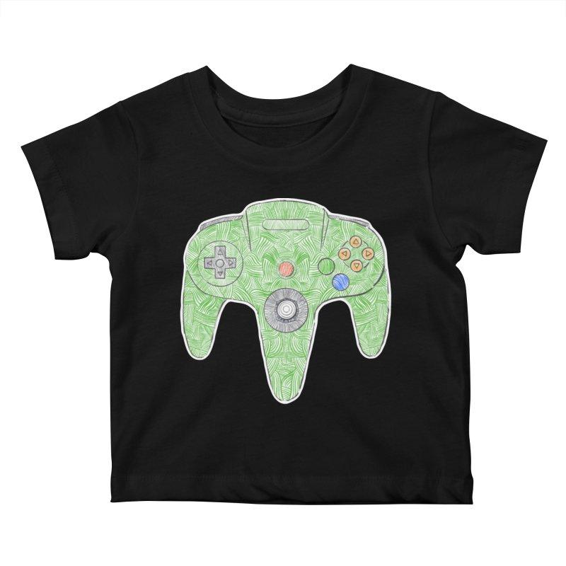 Gamepad SixtyFour - Green Kids Baby T-Shirt by Krist Norsworthy Art & Design