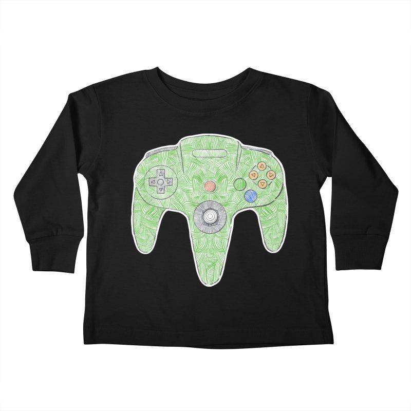 Gamepad SixtyFour - Green Kids Toddler Longsleeve T-Shirt by Krist Norsworthy Art & Design