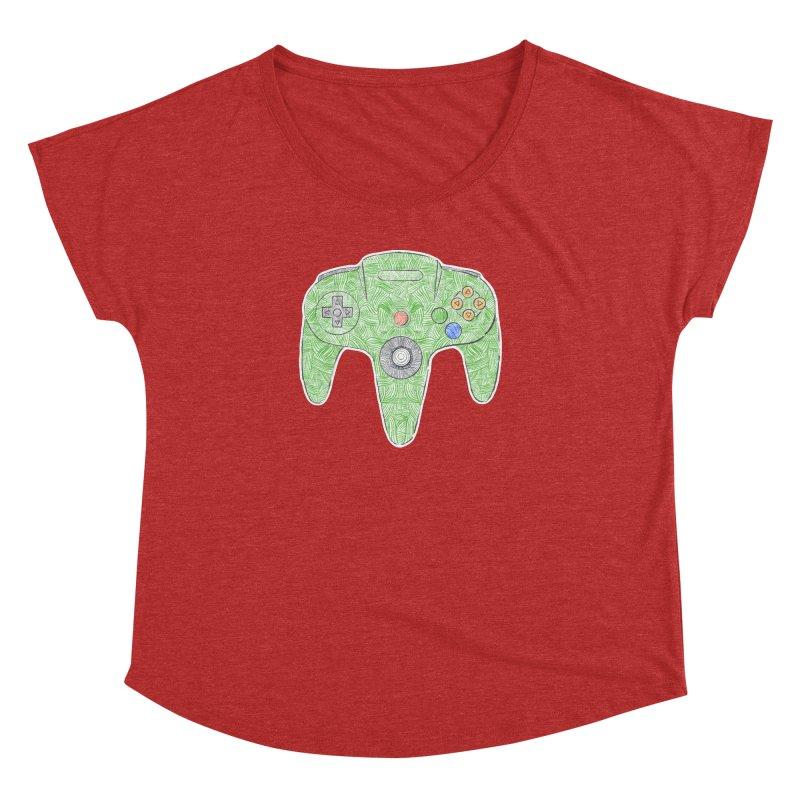 Gamepad SixtyFour - Green Women's Dolman Scoop Neck by Krist Norsworthy Art & Design