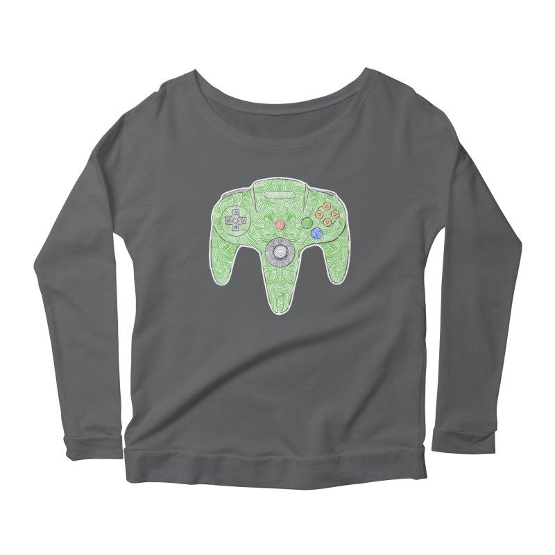 Gamepad SixtyFour - Green Women's Scoop Neck Longsleeve T-Shirt by Krist Norsworthy Art & Design