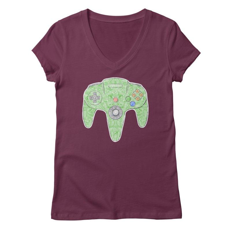 Gamepad SixtyFour - Green Women's Regular V-Neck by Krist Norsworthy Art & Design