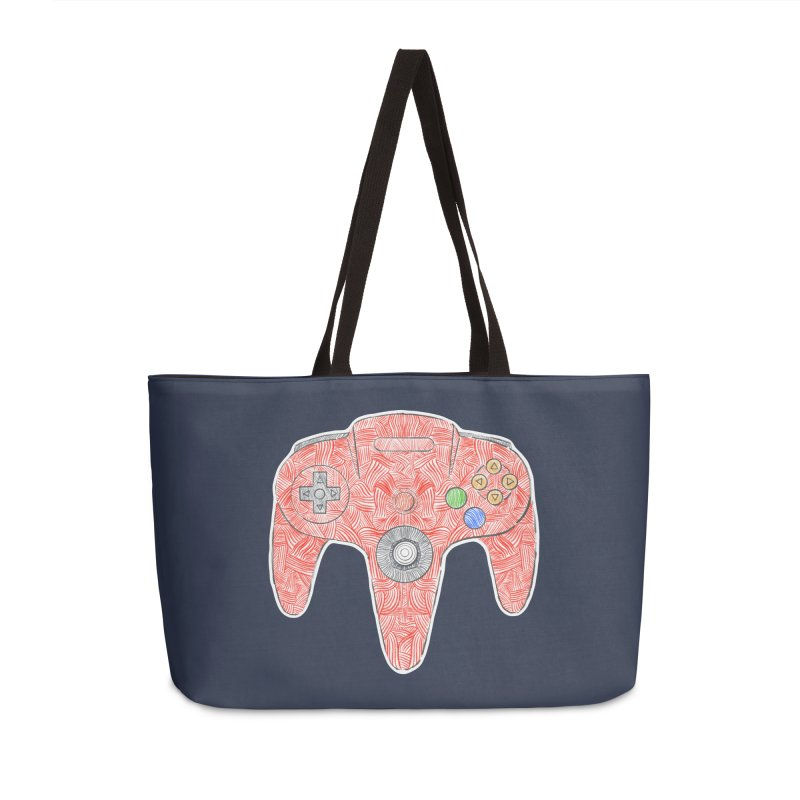Gamepad SixtyFour - Red Accessories Weekender Bag Bag by Krist Norsworthy Art & Design