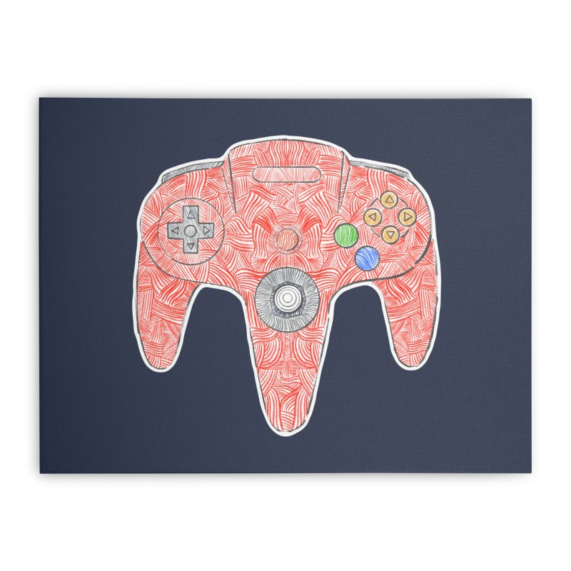 Gamepad SixtyFour - Red Home Stretched Canvas by Krist Norsworthy Art & Design