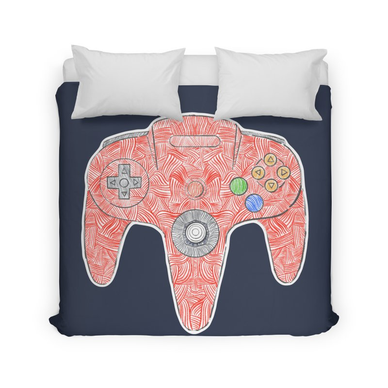 Gamepad SixtyFour - Red Home Duvet by Krist Norsworthy Art & Design