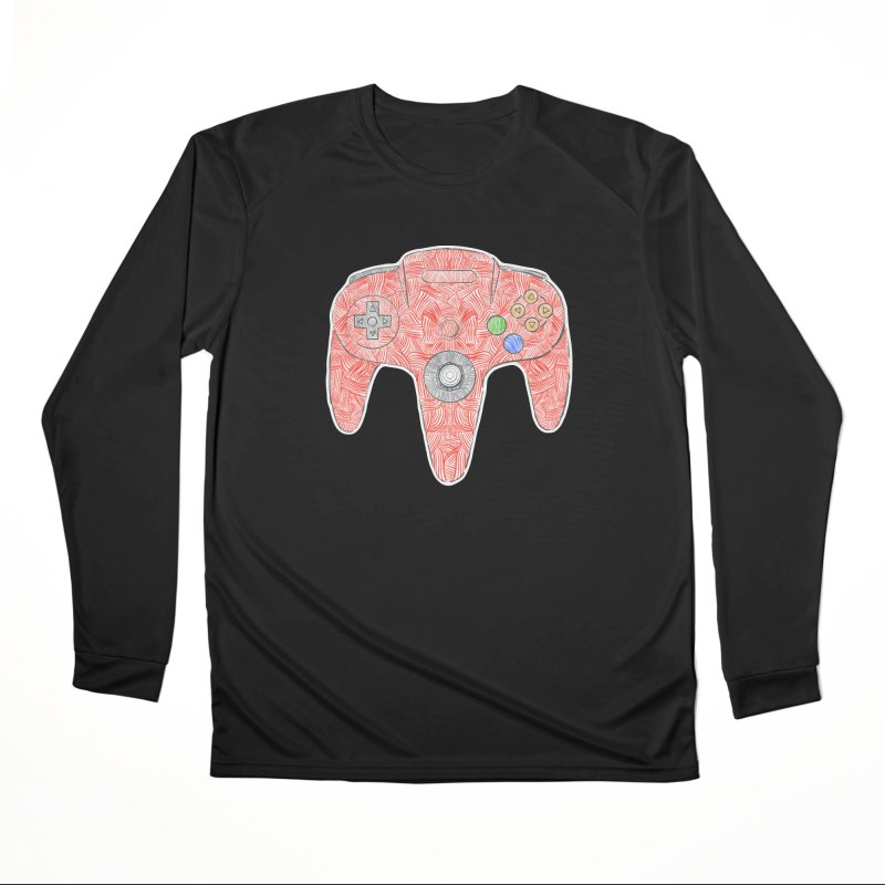 Gamepad SixtyFour - Red Men's Performance Longsleeve T-Shirt by Krist Norsworthy Art & Design