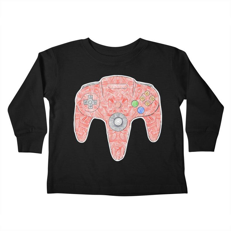 Gamepad SixtyFour - Red Kids Toddler Longsleeve T-Shirt by Krist Norsworthy Art & Design