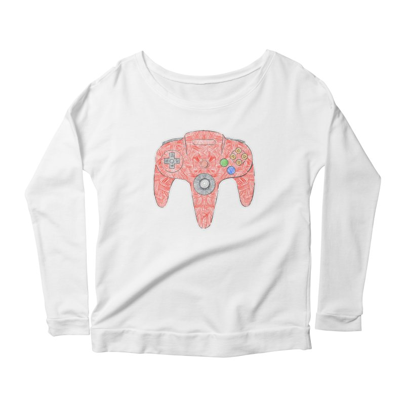 Gamepad SixtyFour - Red Women's Scoop Neck Longsleeve T-Shirt by Krist Norsworthy Art & Design