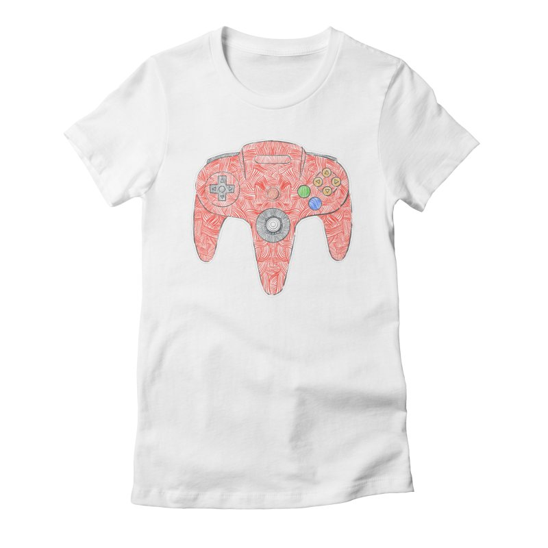 Gamepad SixtyFour - Red Women's Fitted T-Shirt by Krist Norsworthy Art & Design