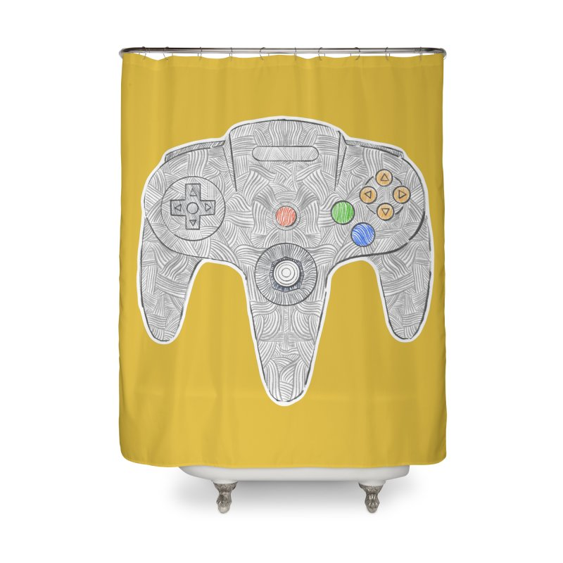 Gamepad SixtyFour - Grey Home Shower Curtain by Krist Norsworthy Art & Design