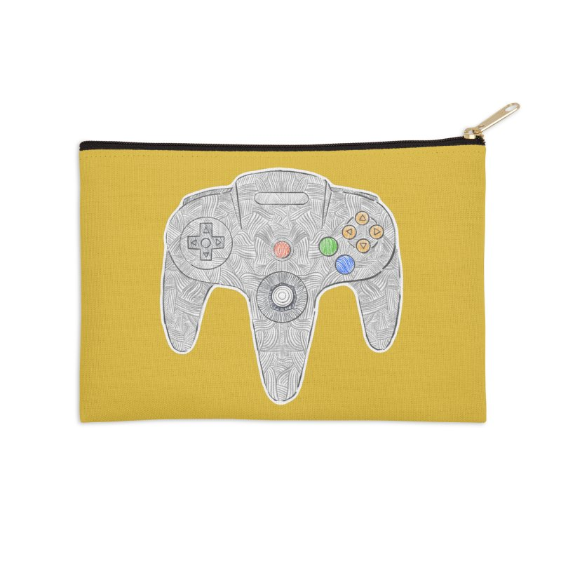 Gamepad SixtyFour - Grey Accessories Zip Pouch by Krist Norsworthy Art & Design