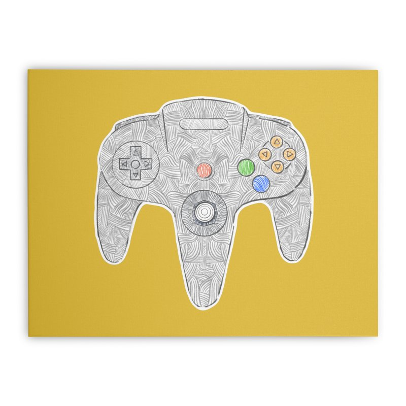 Gamepad SixtyFour - Grey Home Stretched Canvas by Krist Norsworthy Art & Design