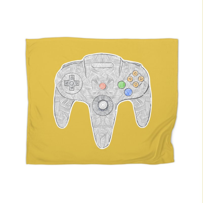 Gamepad SixtyFour - Grey Home Fleece Blanket Blanket by Krist Norsworthy Art & Design