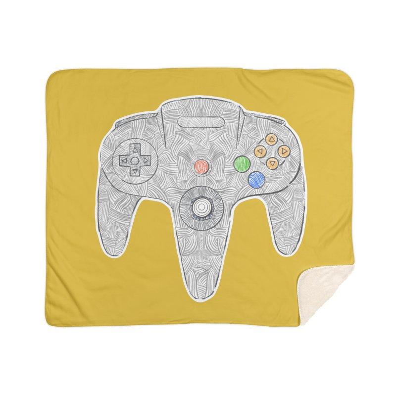 Gamepad SixtyFour - Grey Home Sherpa Blanket Blanket by Krist Norsworthy Art & Design