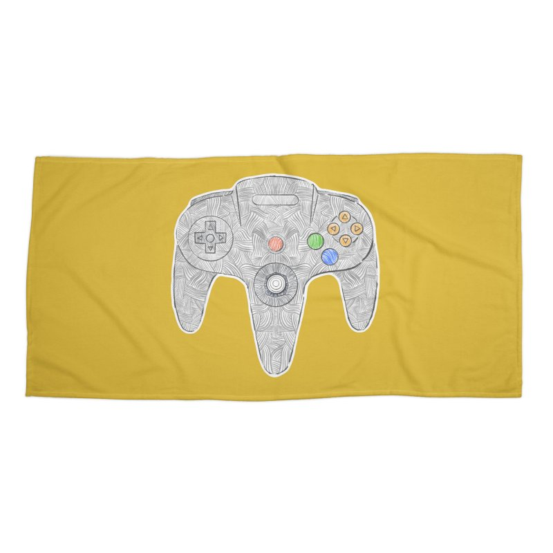 Gamepad SixtyFour - Grey Accessories Beach Towel by Krist Norsworthy Art & Design