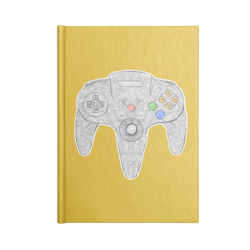 Gamepad SixtyFour - Grey Accessories Blank Journal Notebook by Krist Norsworthy Art & Design