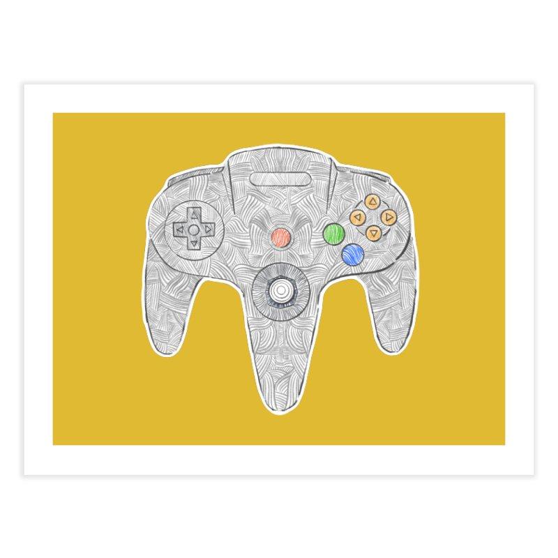 Gamepad SixtyFour - Grey Home Fine Art Print by Krist Norsworthy Art & Design