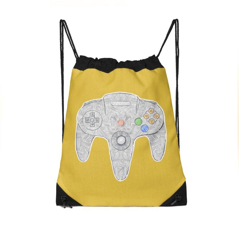 Gamepad SixtyFour - Grey Accessories Drawstring Bag Bag by Krist Norsworthy Art & Design
