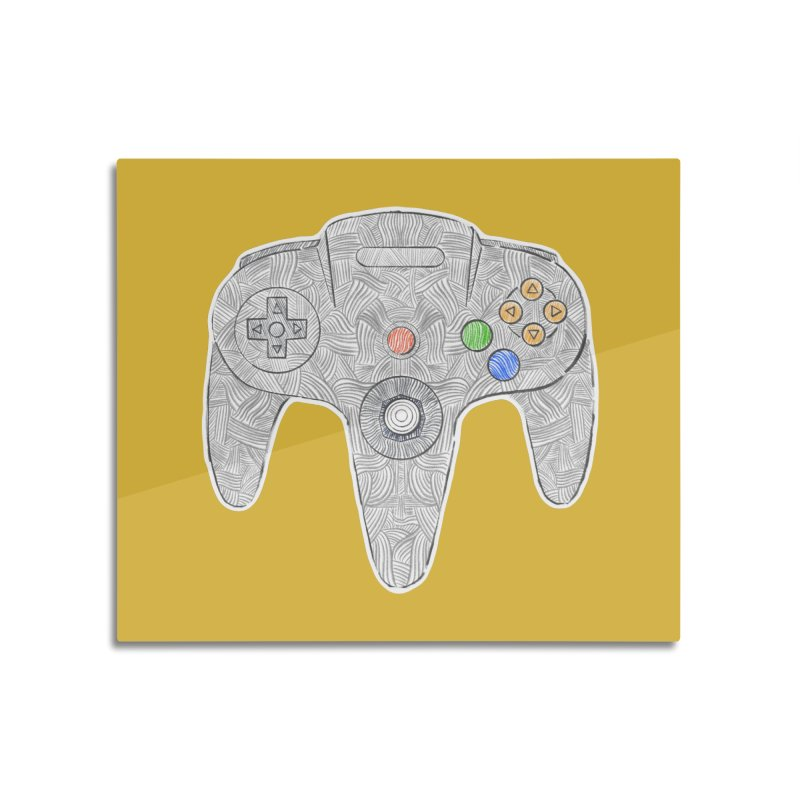 Gamepad SixtyFour - Grey Home Mounted Aluminum Print by Krist Norsworthy Art & Design