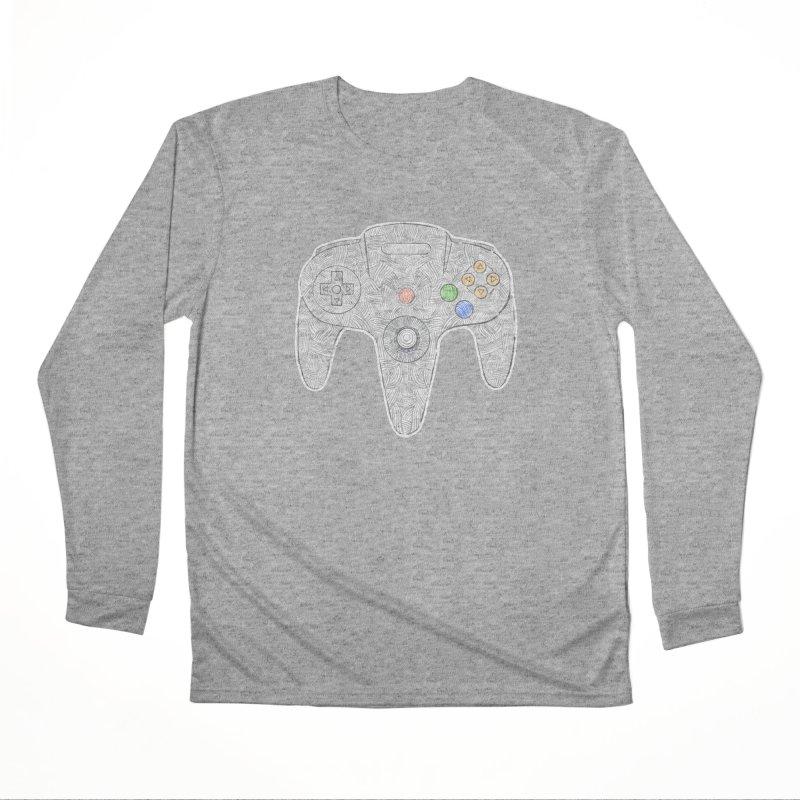 Gamepad SixtyFour - Grey Women's Performance Unisex Longsleeve T-Shirt by Krist Norsworthy Art & Design