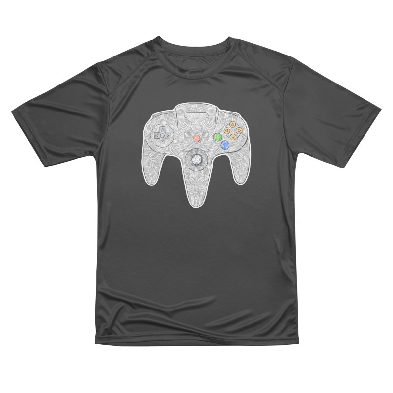 Gamepad SixtyFour - Grey Men's Performance T-Shirt by Krist Norsworthy Art & Design